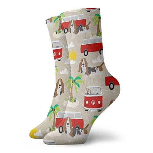 hgfyef Socks Breathable Basset Hound Dog Beach Bus Hippie Bus Palm Trees Crew Sock Exotic Modern Women & Men Printed Sport Athletic Socks 11.8in
