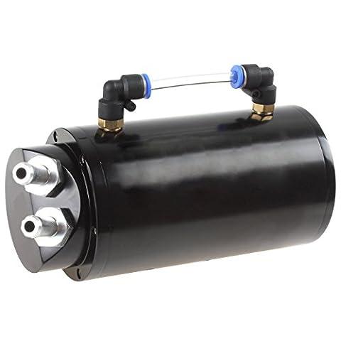Round Billet Aluminum 750ML Black Racing Engine Oil Catch Reservoir
