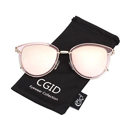 CGID MJ85 Retro Polarisierte Sonnenbrille Doppelte Kreis Spiegel UV400 Objektiv Metall Rahmen - Gesichts-gewebe-marken
