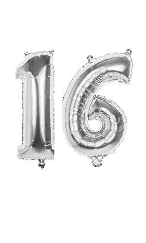 (Dekoration 16. Geburtstag Folienballons Party Deko (Silber))