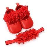 Vovotrade Babyschuhe Prinzessin Schuhe Baby Mädchen Blumen Leder Mode Kleinkind erste Wanderer scherzt Schuhe + 1PC Hairband