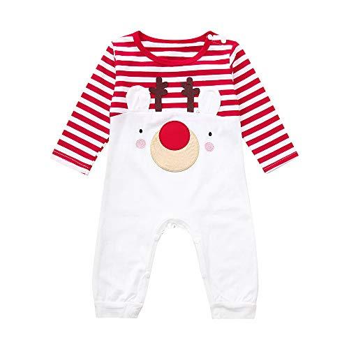 Cloom Kleinkind Säuglings Baby Jungen Mädchen Weihnachtsrotwild Overall Gestreifte Spielanzug Ausstattungen Baumwolle Strampler Bodysuit Kleidung Outfit Babykleidung (70, Rot)