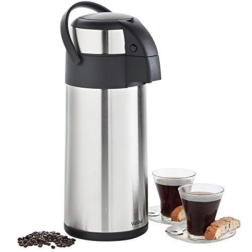 VonShef Edelstahl Pump-Isolierkanne-Thermoskanne Airpot für Tee, Kaffee und Suppe (5L)
