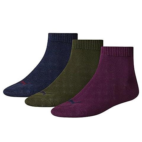 Puma Sports Socks Unisex Fashion Quarter (3 Pair Pack) Italian Plum, UK 9-11 / EU 43-46