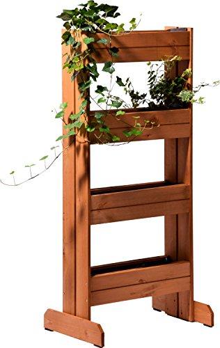 dobar Vertikales Blumenbeet mit 4 Holz-Pflanzkästen, Hochbeet für Garten, Terrasse, Balkon, inklusiv Pflanzfolie, bernstein, 55 x 40 x 125 cm, 58372FSCe