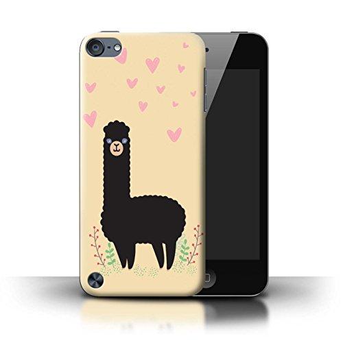 Stuff4® Hülle/Case für Apple iPod Touch 5 / Herz Gekritzel Schwarz Muster/Karikatur Alpaka Kollektion (Herz Case Für Ipod Touch 5)