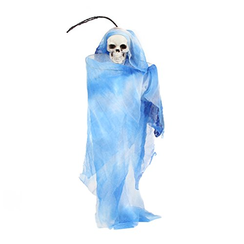 BESTOYARD Halloween Scary Schädel Puppe Spukhaus Gruselige Neuheit Halloween Dekoration Prop (blau)
