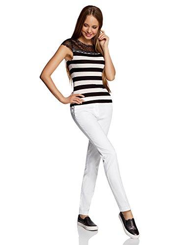 oodji Ultra Donna T-Shirt Aderente con Inserto in Pizzo Bianco (3029S)