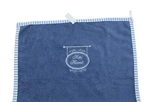 Handtuch Bad Gäste Hand-Tuch Blau Weiße Stickerei Hotel Heimat 100 x 50 cm Frottee Fairtrade Ringelsuse -