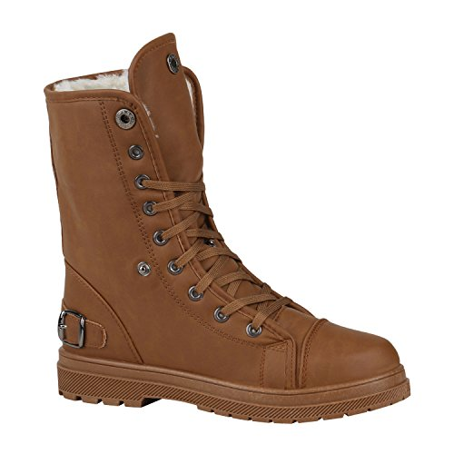 Stiefelparadies Damen Warm Gefütterte Sneakers Sneaker High Winter Schuhe Kunstfell Sportschuhe Turnschuhe Übergrößen Gr. 36-42 Flandell Braun Schnallen