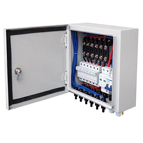 ECOWORTHY Solar Combiner Box - Sicherung vorverdrahtet 6-String, 10A-Überspannungsschutz für Überspannungsschutz für Netzspannungs- und Inselnetzsysteme Pv Array Combiner