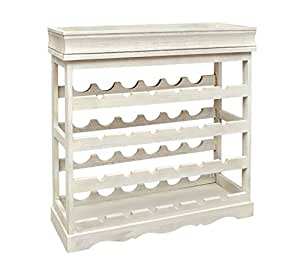 Wine rack white shabby look 24 bottle wine rack wood wine for Cantinetta vino amazon