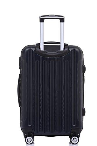 BEIBYE TSA Schloß, Zwillingsrollen, Dehnungsfuge, Hartschale Trolley Koffer Kofferset Reisekoffer Gepäckset (Schwarz) - 4
