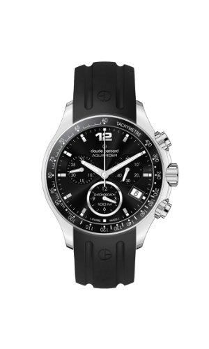 Claude Bernard Women's 10211 3 NIN Aquarider Black Chronograph Tachymeter Rubber Watch