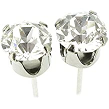 pewterhooter. Pendientes negros de rodio hechos por expertos con cristal brillante White Diamond de SWAROVSKI®.