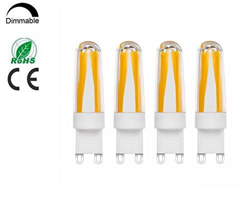 G9LED Leuchtmittel dimmbar 4Watt 360-400LM Warmweiß 2700K-Stiftsockellampe 4x Filament COB LED Kronleuchter Lampe 220V AC, 360Grad Abstrahlwinkel, 80-100LM/W, omnidirektionales, warmweiß, G9LED Glühbirne, mais Glühlampe, LED Leuchtmittel (4Stück)