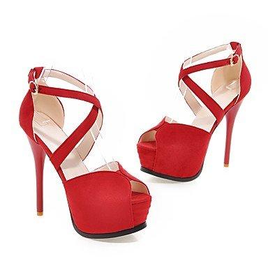 Enochx Donna Sandali Estate Autunno scarpe Club vello Office & Carriera Party & abito da sera Stiletto Heel fibbia Red
