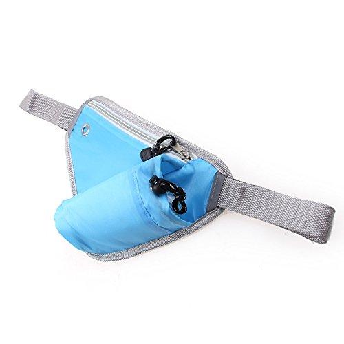 asche Laufgürtel Umhängetasche, Multifunktions Tasche mit Thermo Flaschenhalter zum Joggen / Laufen / Fahrrad fahren, Wandern und mehr, Blau (Flaschenhalter Mit Gurt)