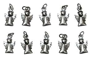 Angelo Custode Charms placcati argento. Ciondolo Angioletto Protezione per decorazioni, gioielli e bomboniere fai da te Comunione, Cresima, Battesimo, Nascita bambino bambina - H 1,7 cm - 10 pezzi