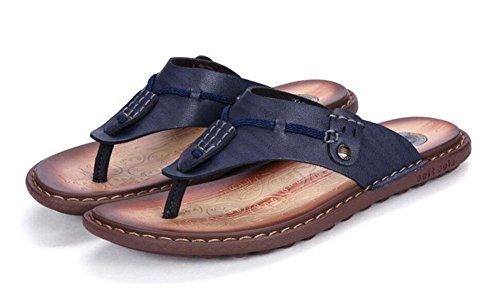 SHIXR Männer öffnen sich zurück Hausschuhe Sommer neue Charaktere Flip Männer Mode Trend Freizeit Cool Pantoffeln Outdoor Sandalen Blue
