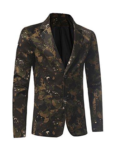 Herren zwei Knopf Revers Camouflage Print Blazer Anzug Jacke Slim Fit Sport Mantel (Einreiher Zwei-knopf-blazer Mit)