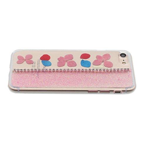 """iPhone 7 Coque Case Bling Cristal Strass Exquis Fleurs Muster Flexible Transparente étui pour Apple iPhone 7 4.7"""" Anti Choc Mince et Poids léger Rose-2"""