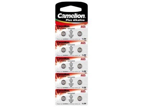 Camelion Alkaline Button Cells, AG5 / G5 / LR754 / LR48 / 193 / SR754W / GP93A / 393, 1.5V - 10 pieces by Camelion