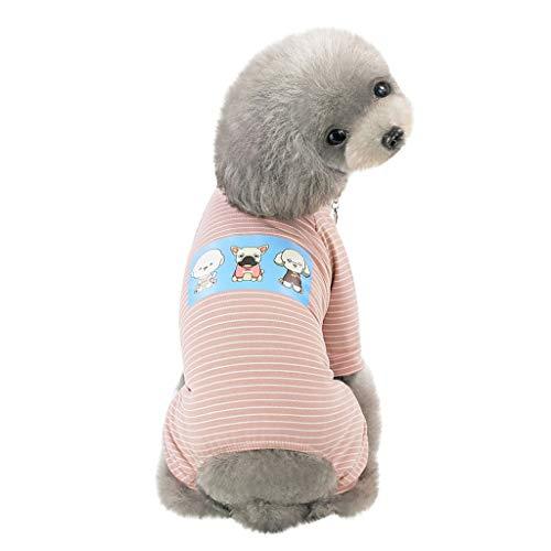 Hunde-Pyjama aus Baumwolle, gestreift, für kleine Hunde, 4 Beine, niedliches Welpen-Motiv, Bedruckte Kleidung Haustier Jumpsuit für Welpen Kleine Mittlere Hunde (L, Rosa)