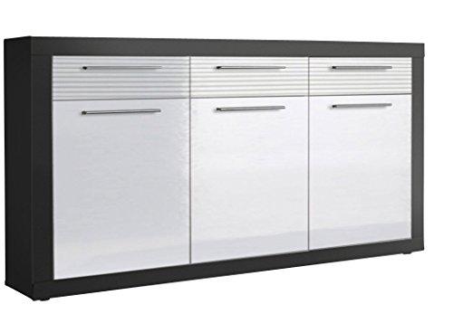 Stella Trading 44-926-D5 Sideboard Kolibri, Holzdekor, Grau/Mdf Weiß Hochglanz, 117 x 88 x 37 cm