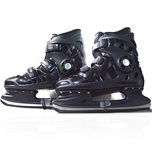 Herren Schlittschuhe für Eiskunstlauf, Rollschuhe Skates Schuhe Skates Blades Verstellbare Rollerskates,Schwarz,44