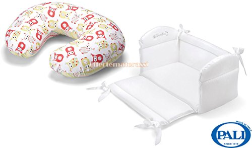 Riduttore Culla Pali Sweeties bianco lettino + Cuscino allattamento Edwige verde