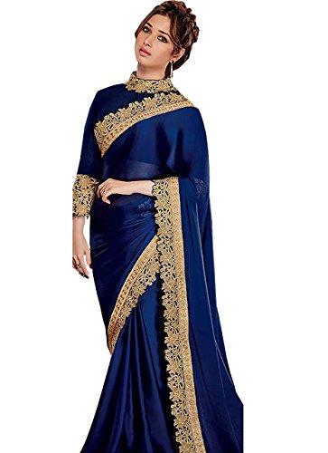 Adorn fashion Tamanna Bhatia Blue Satin Silk Heavy Replica Saree  available at amazon for Rs.1550