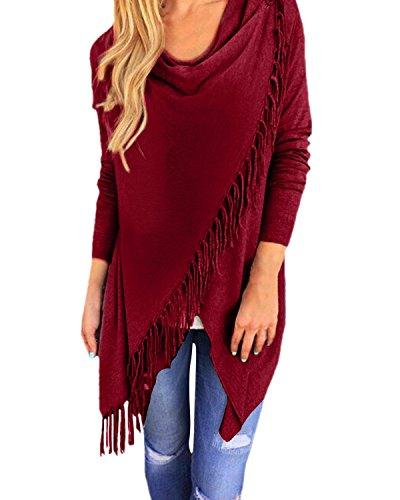 StyleDome Damen Langarm Dünne Quasten Asymmetrisch Jumper Sweatshirt Pullover StrickJacken (38-40, Weinrot)