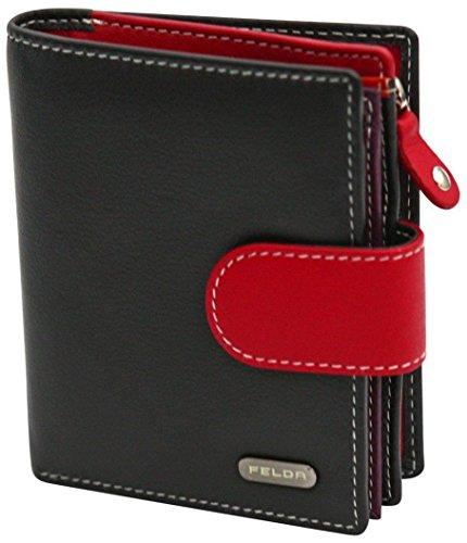 Damen Geldbörse aus Echtleder mit 10 Fächern - RFID-Blocker - Schwarz & Rot