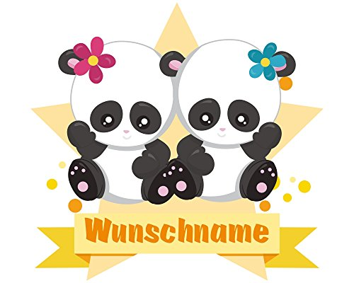 plot4u Zwei Pandas Wandtattoo Türschild mit Name personalisierbar Kinderzimmer Türaufkleber Baby Wandaufkleber in 9 Größen (60x52cm mehrfarbig)