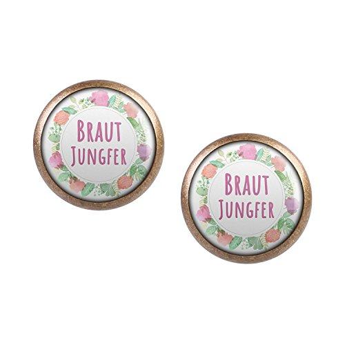 Mylery Ohrstecker Paar mit Motiv Braut-Jungfer Blumen-Kranz bronze 12mm