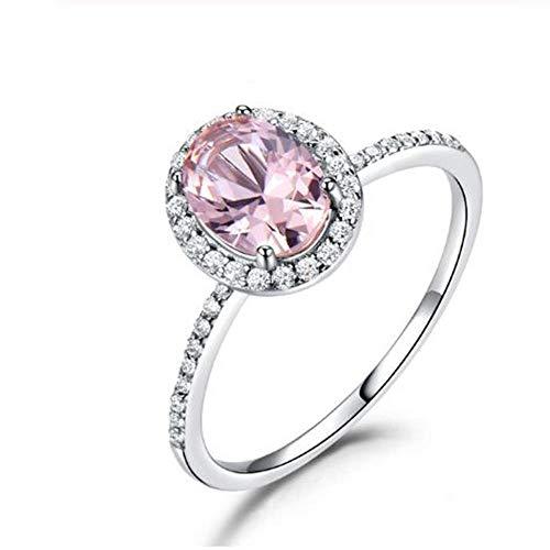 XCWXM Ringe Topas Edelstein Ringe Für Frauen 925 Sterling Silber Ring Oval Romantisches Geschenk Verlobungsschmuck B6 (Topas Blauer Katze)