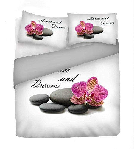 Italian Bed Linen Juego De Funda Nórdica Love and Dreams Blanco/Gris/Fucsia Cama 100/110 (250 x 200 cm + 2/52 x 82 cm)