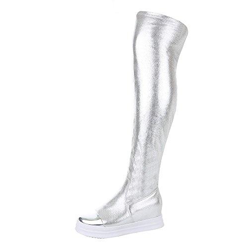 Overknee Stiefel Damenschuhe Klassischer Stiefel Keilabsatz/ Wedge  Sportliche Reißverschluss Ital-Design Stiefel Silber