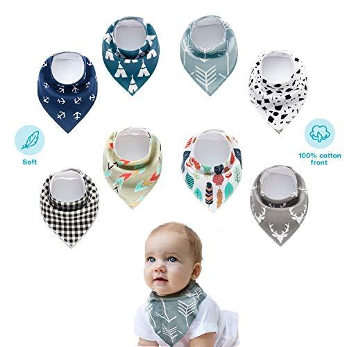 Dreieckstuch Baby - RIGHTWELL 8er Baby Dreieckstuch Lätzchen jungen Halstücher Spucktücher mit Verstellbares Druckknöpfen für Lätzchen Zahnen, Baby Shower Geschenkset - Baby Für Bandana-lätzchen