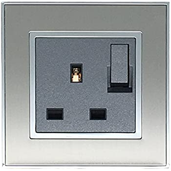 Wall Plug Socket 13A Single Switched Electric Socket Brushed Steel ...