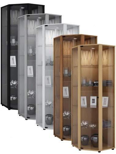 """VCM Eckvitrine Glasvitrine Standvitrine Schrank Sammelvitrine Vitrine Glas Regal Buche 175 x 57 x 57 cm """"Venedig"""""""