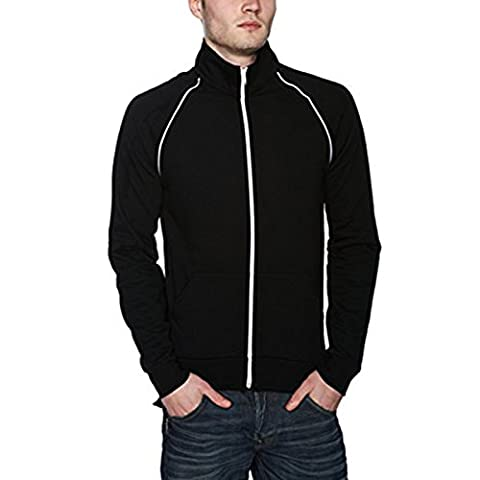 Men's California Fleece Track Jacket (5455) American Apparel White Piping Detail Raglan Cut Cadet Collar 100% Cotton (X-Small, Kelly Green /