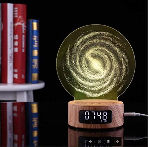 WDDqzf Bluetooth-Wecker-Projektions-Audio-Galaxie 3D Nachtlicht-Bunte Digitale Tabellen-hölzerne Uhr-Gadgets elektronisch für Kindergife