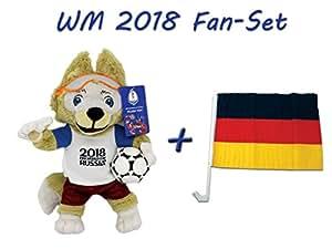 FIFA Weltmeisterschaft 2018 in Russland - Offizielles Plüschmaskottchen Zabivaka 35 cm mit Autofahne
