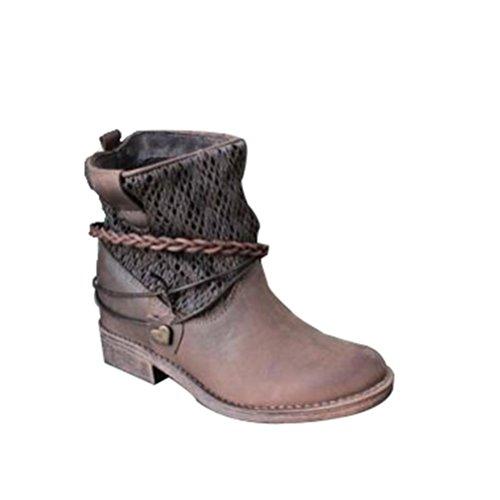 QPYC Ladies Custom Models Low Boots Round Head con il lato Martin Boots Locomotive Boots Scarpe da donna brown