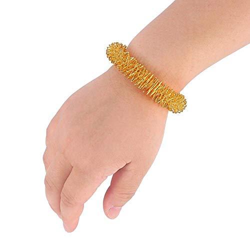 Akupressur Massage Ringe, Akupunktur Armband Handgelenk Massage Entspannung Liefert Edelstahl Handgelenk Hand Massage Ring (Gold) MEHRWEG VERPACKUNG -