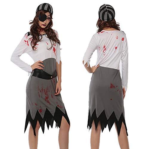 XUDSJ Halloween,Lack Kleid,hexenkostüm, Erwachsene Weibliche Halloween-Zombie-Kostüm-Horror-beängstigende Kleidungs-Hexe-Kleiderkostüm-Partei-Dekoration (Color : A, Size : One Size)