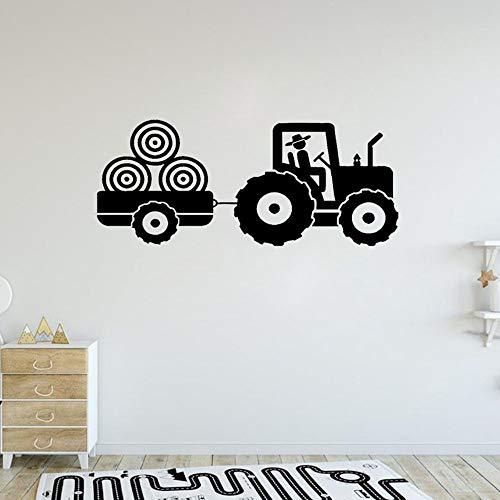 123X57 cm Traktor Wand Vinyl Aufkleber für Jungen Schlafzimmer Anhänger Bauernhof Muster Kunst Aufkleber Kinder Kinderzimmer Dekoration Wandbild Poster