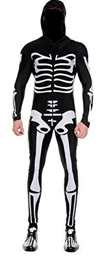 Männer gespenstische Halloween-Skelett Knochendruck Kostüm mit Kapuze Größe Größe XL (Halloween-kostüme Für Mann Und Frau)